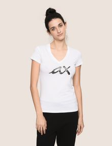 ARMANI EXCHANGE BEADED SCRIPT V-NECK TEE Logo T-shirt Woman f