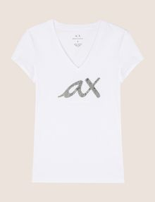 ARMANI EXCHANGE BEADED SCRIPT V-NECK TEE Logo T-shirt Woman r