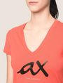 ARMANI EXCHANGE BEADED SCRIPT V-NECK TEE Logo T-shirt Woman b