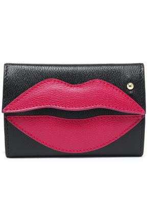 CHARLOTTE OLYMPIA Appliquéd two-tone textured-leather key wallet