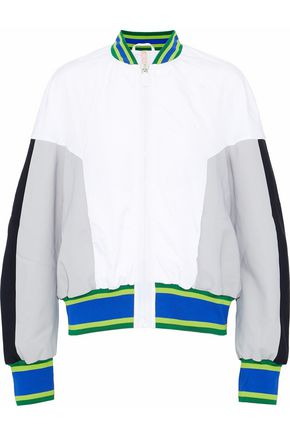 NO KA 'OI Color-block scuba and crinkled-shell bomber jacket