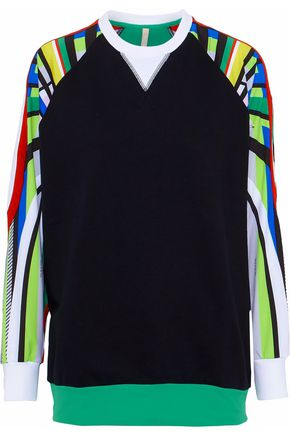 NO KA 'OI Printed jersey-paneled cotton-blend sweatshirt