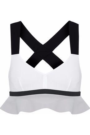NO KA 'OI Ruffled color-block stretch sports bra