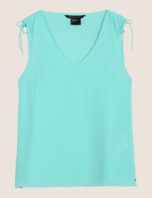 ARMANI EXCHANGE TIE-SLEEVE MESH TANK S/L Woven Top Woman r
