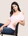 ARMANI EXCHANGE SPLIT SLEEVE COLD-SHOULDER BLOUSE S/L Knit Top Woman a