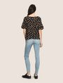 ARMANI EXCHANGE FLORAL DROP-SHOULDER RUFFLE BLOUSE S/S Woven Top Woman e