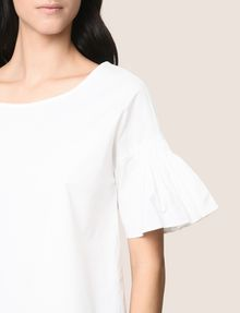 ARMANI EXCHANGE POPLIN DROP-SHOULDER RUFFLE BLOUSE S/S Woven Top Woman b