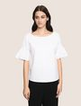 ARMANI EXCHANGE POPLIN DROP-SHOULDER RUFFLE BLOUSE S/S Woven Top Woman f