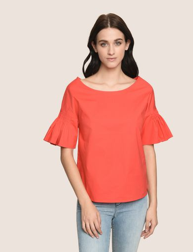 POPLIN DROP-SHOULDER RUFFLE BLOUSE