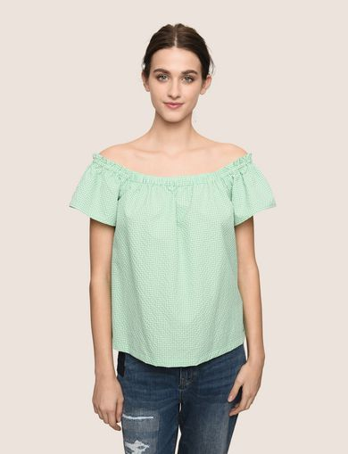 SEERSUCKER OFF-THE-SHOULDER BLOUSE