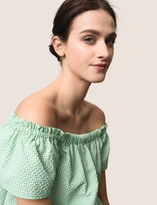 ARMANI EXCHANGE SEERSUCKER OFF-THE-SHOULDER BLOUSE S/S Woven Top Woman a