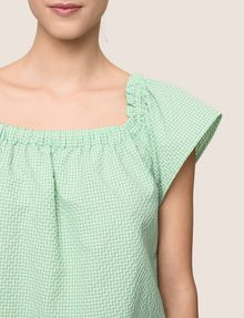 ARMANI EXCHANGE SEERSUCKER OFF-THE-SHOULDER BLOUSE S/S Woven Top Woman b