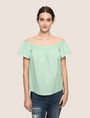 ARMANI EXCHANGE SEERSUCKER OFF-THE-SHOULDER BLOUSE S/S Woven Top Woman f