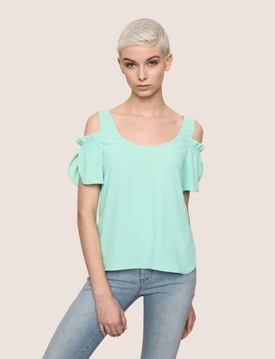 SPLIT SLEEVE COLD-SHOULDER BLOUSE
