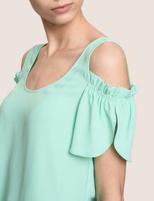 ARMANI EXCHANGE SPLIT SLEEVE COLD-SHOULDER BLOUSE S/L Knit Top Woman b