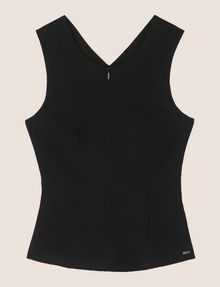 ARMANI EXCHANGE ZIP-UP CROSS-BACK PEPLUM TOP S/L Woven Top Woman r