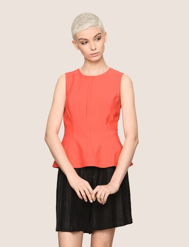 ZIP-UP CROSS-BACK PEPLUM TOP