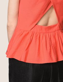 ARMANI EXCHANGE ZIP-UP CROSS-BACK PEPLUM TOP S/L Woven Top [*** pickupInStoreShipping_info ***] b
