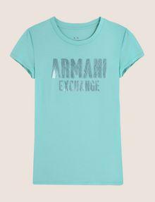 ARMANI EXCHANGE TONAL GLITTER BLOCK TEE Logo T-shirt Woman r