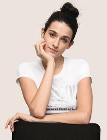 ARMANI EXCHANGE TONAL GLITTER BLOCK TEE Logo T-shirt Woman a