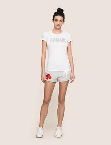 ARMANI EXCHANGE TONAL GLITTER BLOCK TEE Logo T-shirt Woman d