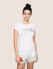 ARMANI EXCHANGE TONAL GLITTER BLOCK TEE Logo T-shirt Woman f