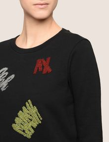 ARMANI EXCHANGE BEADED EXCLAMATION SWEATSHIRT Fleece Top [*** pickupInStoreShipping_info ***] b