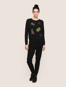ARMANI EXCHANGE BEADED EXCLAMATION SWEATSHIRT Fleece Top [*** pickupInStoreShipping_info ***] d