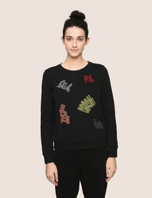 ARMANI EXCHANGE BEADED EXCLAMATION SWEATSHIRT Fleece Top [*** pickupInStoreShipping_info ***] f