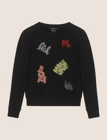ARMANI EXCHANGE BEADED EXCLAMATION SWEATSHIRT Fleece Top [*** pickupInStoreShipping_info ***] r