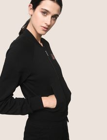ARMANI EXCHANGE RHINESTONE LOGO CROPPED BOMBER Fleece Jacket [*** pickupInStoreShipping_info ***] a