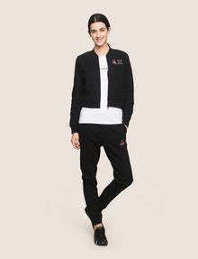 ARMANI EXCHANGE RHINESTONE LOGO CROPPED BOMBER Fleece Jacket [*** pickupInStoreShipping_info ***] d