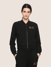 ARMANI EXCHANGE RHINESTONE LOGO CROPPED BOMBER Fleece Jacket [*** pickupInStoreShipping_info ***] f