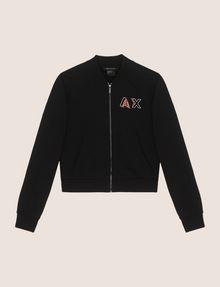 ARMANI EXCHANGE RHINESTONE LOGO CROPPED BOMBER Fleece Jacket [*** pickupInStoreShipping_info ***] r