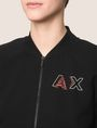 ARMANI EXCHANGE RHINESTONE LOGO CROPPED BOMBER Fleece Jacket [*** pickupInStoreShipping_info ***] b