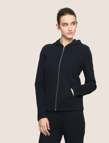 ARMANI EXCHANGE TONAL EMBROIDERY ZIP-UP HOODIE Fleece Jacket Woman f