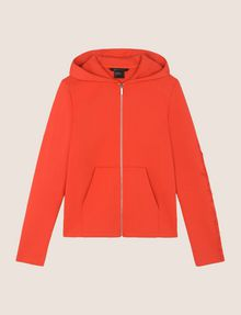 ARMANI EXCHANGE TONAL EMBROIDERY ZIP-UP HOODIE Fleece Jacket Woman r