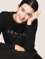 ARMANI EXCHANGE RHINESTONE LOGO SWEATSHIRT TOP Fleece Top Woman a