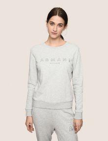 ARMANI EXCHANGE RHINESTONE LOGO SWEATSHIRT TOP Fleece Top Woman f