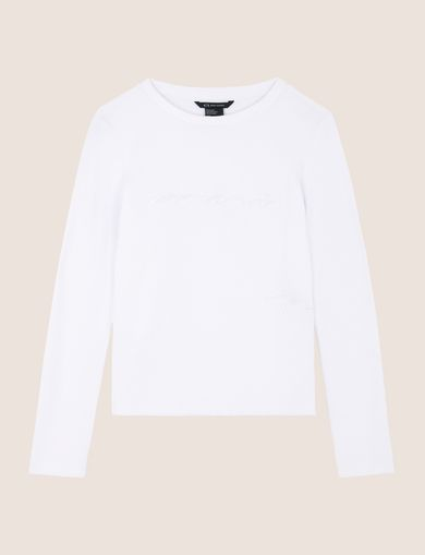 EMBROIDERED CURSIVE SWEATSHIRT TOP