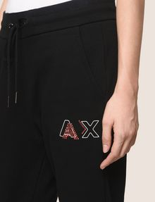 ARMANI EXCHANGE RHINESTONE LOGO SWEATPANTS Fleece Pant Woman b