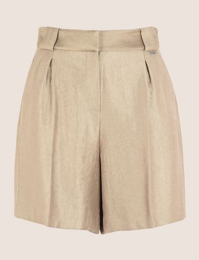 PLEATED METALLIC TROUSER SHORTS