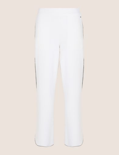 CONTRAST PIPING CURVED-HEM PANTS