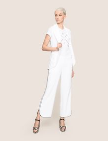 ARMANI EXCHANGE CONTRAST PIPING CURVED-HEM PANTS Trouser Woman d