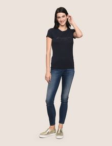 ARMANI EXCHANGE GLITTER SCRIPT TEE Logo T-shirt Woman d