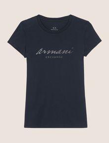 ARMANI EXCHANGE GLITTER SCRIPT TEE Logo T-shirt Woman r