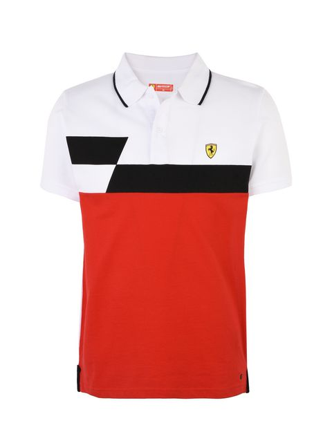 Scuderia Ferrari Online Store - Piqué cotton polo shirt with geometric print - Short Sleeve Polos