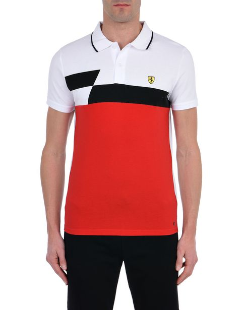 Piqué cotton polo shirt with geometric print