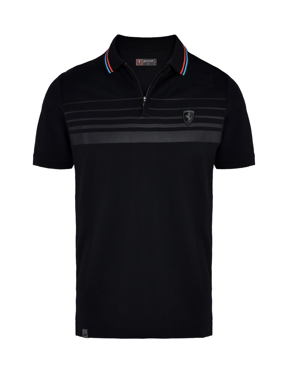 Scuderia Ferrari Online Store - Short-sleeve zipped polo shirt with rubberized print -