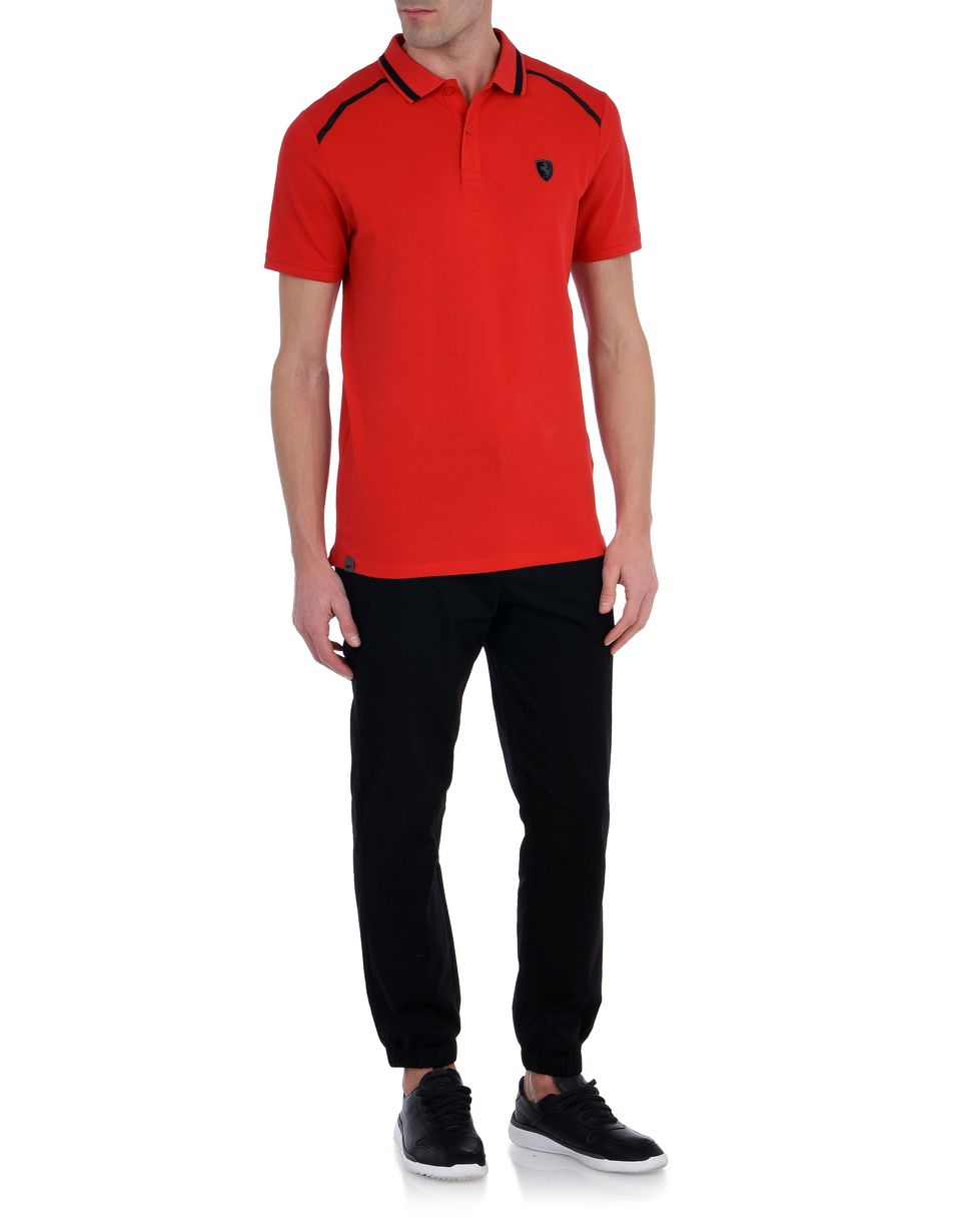 Scuderia Ferrari Online Store - Short-sleeve cotton polo shirt with rubberized print -